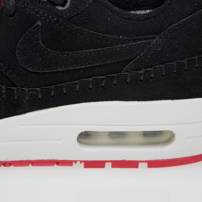 Sneakers buty Nike WMNS Air Max 1 Premium black black action red 454746 010