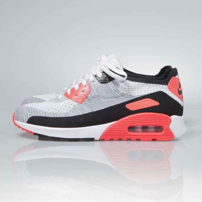 Sneakers buty Nike WMNS Air Max 90 Ultra 2.0 Flyknit white wolf grey bright crimson 881109 100