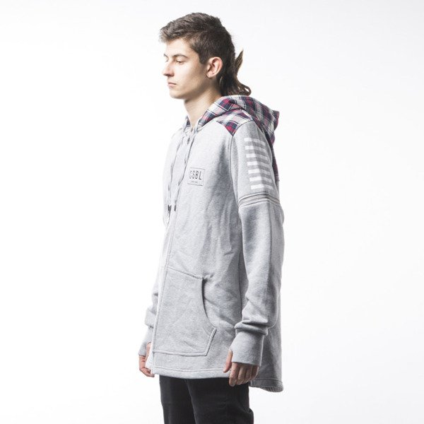 Bluza Cayler & Sons BL CSBL Zip Hoody grey heather / red checked (BL-CAY-SS16-AP-07)