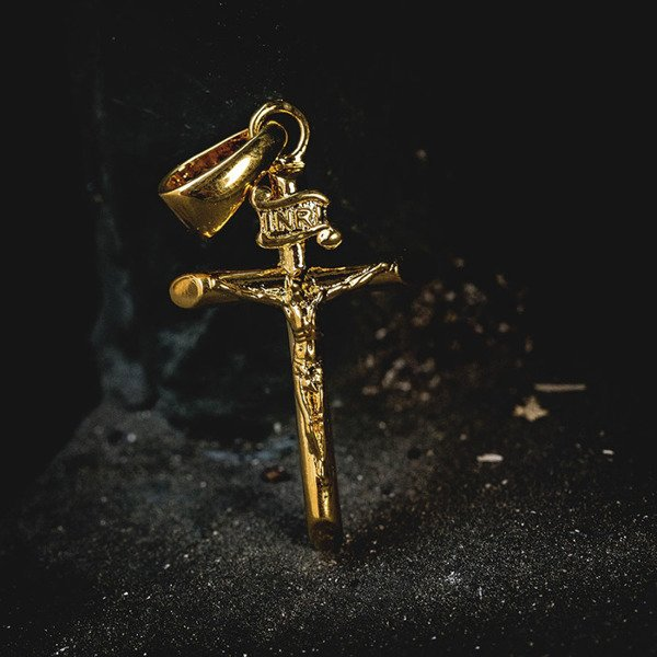 "GLD Crucifix 24"" Micro Cuban 18k Gold Plated"