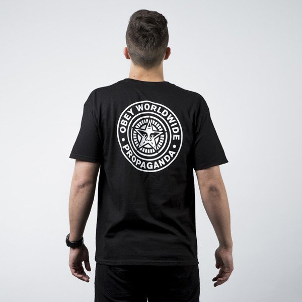 Koszulka Obey With Stamp Back Print black