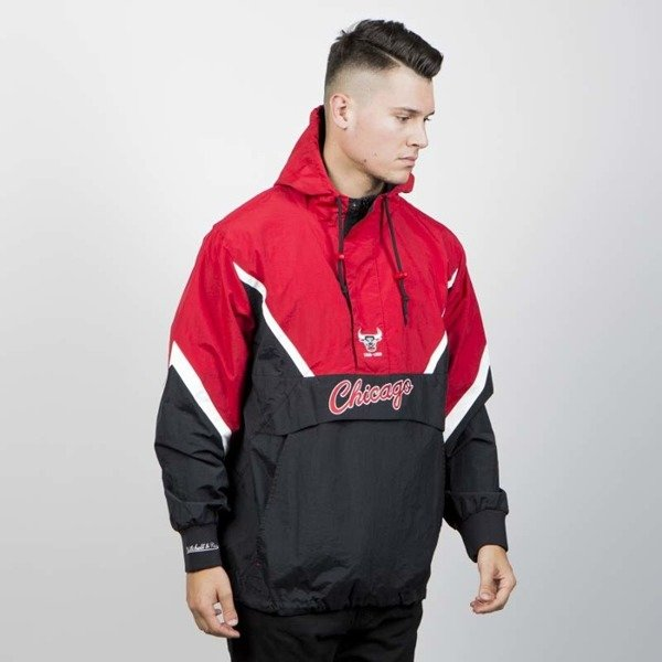 Kurtka Mitchell & Ness Chicago Bulls Half Zip Anorak Jacket black/red