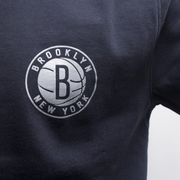 Mitchell & Ness bluza Brooklyn Nets crewneck black Metallic Silver Left Chest Logo
