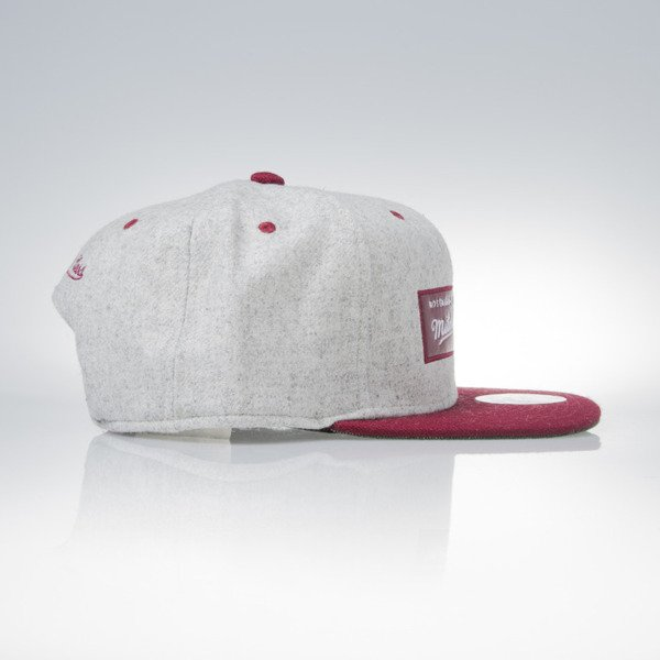 Mitchell & Ness snapback czapka M&N Own Brand grey heather / burgundy Melange Flannel EU912