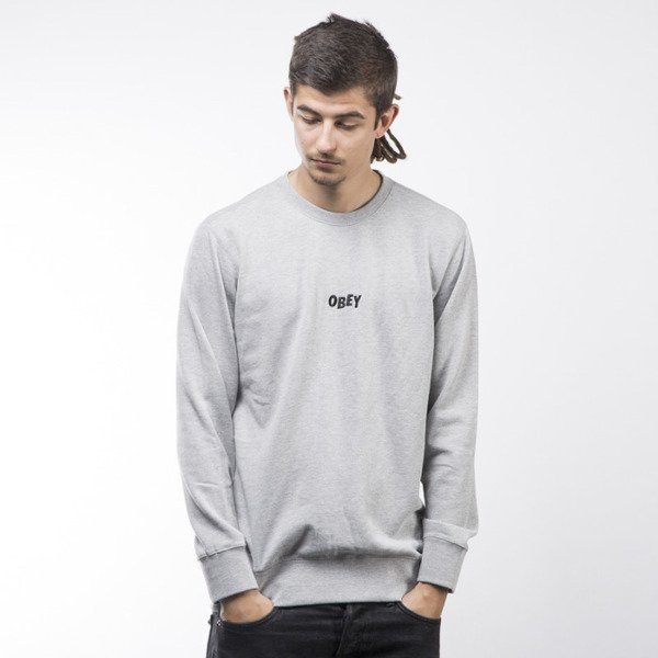 Obey bluza sweatshirt Jumble Bars Crew heather grey