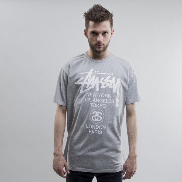 Stussy koszulka World Tour grey heather