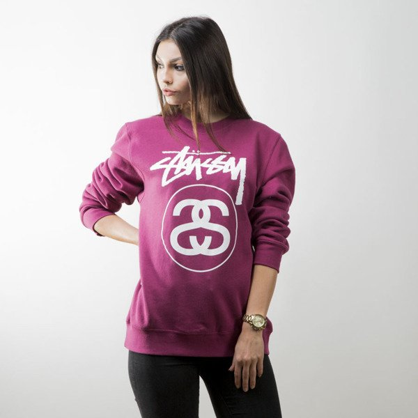Stussy sweatshirt bluza Stock Link Crew grape WMNS