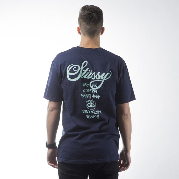 Stussy t-shirt koszulka World Tour navy