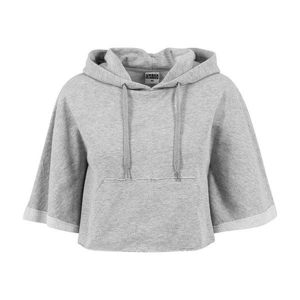 Urban Classics bluza Ladies Cropped Hooded Poncho WMNS grey